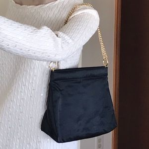 Magid black satin handbag clutch, gold chain strap